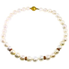South Sea Pearl Necklace with Ruby Rondelles and 14K Gold Clasp and 18K Findings