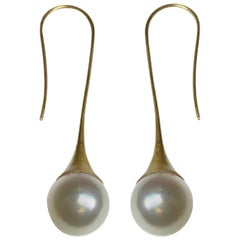 South Sea Pearl on Medium Trumpet Drop Earrings in 18 Karat Gold, A2 by Arunashi