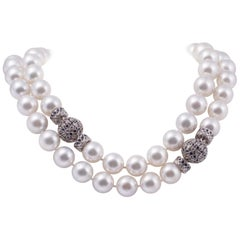 South Sea Pearl Opera Length Necklace with Sapphire and Diamond Clasps