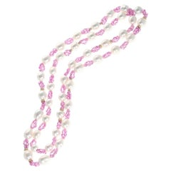 South Sea Pearl, Pink Sapphire, and Diamond and Gold Roundels Necklace