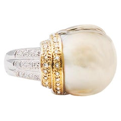 South Sea Pearl Ring with Sapphires and Diamonds 18 Karat