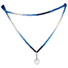 South Sea Pearl, Sapphire and Diamond Necklace