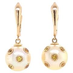 South Sea Pearl Sapphire Dangle Earrings 14k Gold Certified