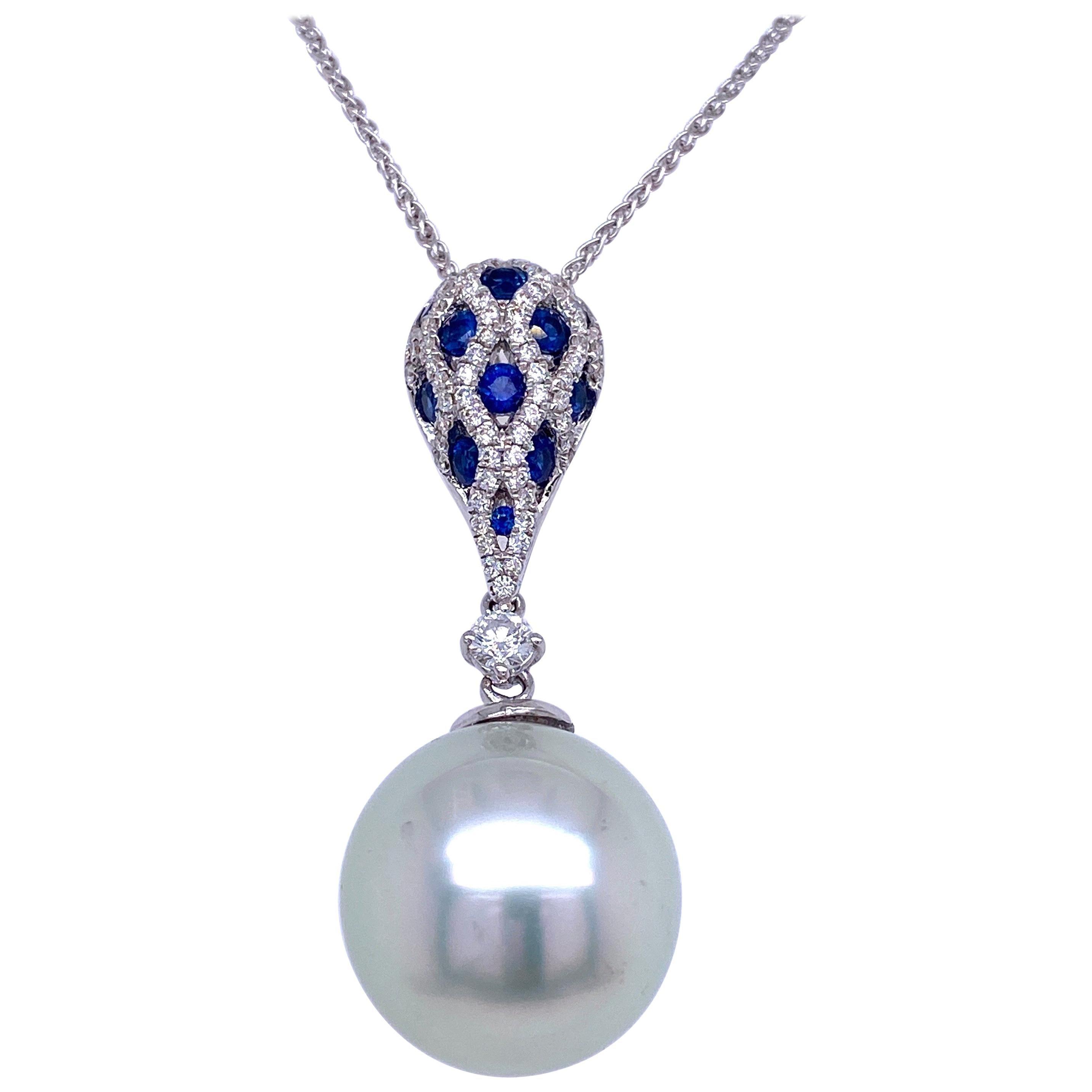 South Sea Pearl Sapphire Diamond Pendant Necklace 0.64 Carat 18 Karat White Gold
