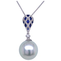South Sea Pearl Sapphire Diamond Pendant Necklace 0.64 Carat 18 Karat White Gold