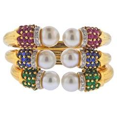 South Sea Pearl Sapphire Emerald Ruby Diamond Gold Bracelet Set