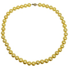 South Sea Pearl Single Strand Necklace, 14 Karat Yellow Gold Clasp