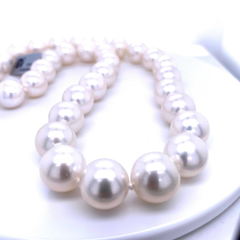 South Sea Pearl Stand Necklace 14 Karat White Gold For Sale 5