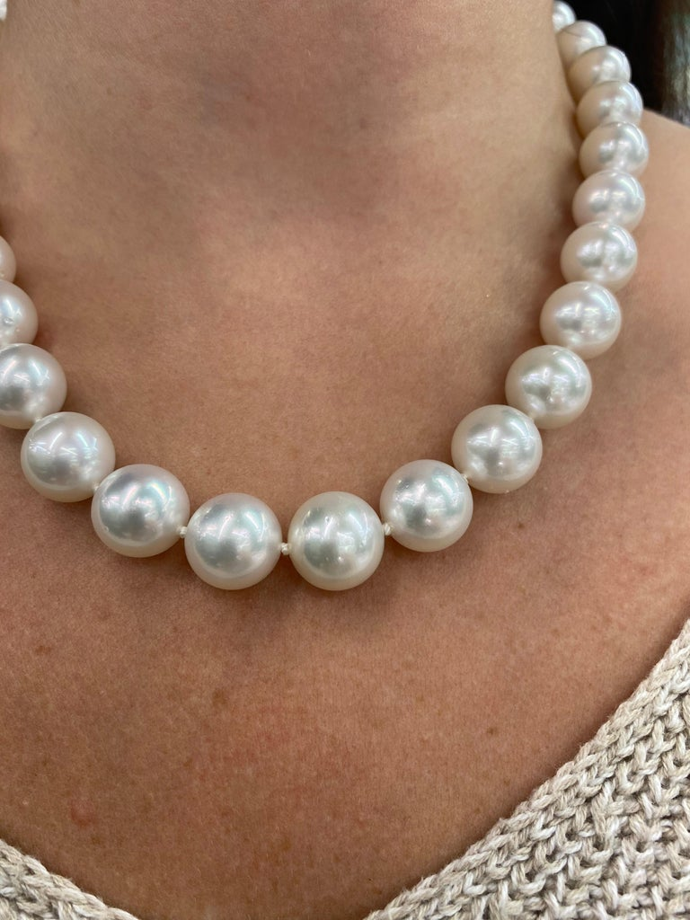 Round Cut South Sea Pearl Stand Necklace 14 Karat White Gold For Sale
