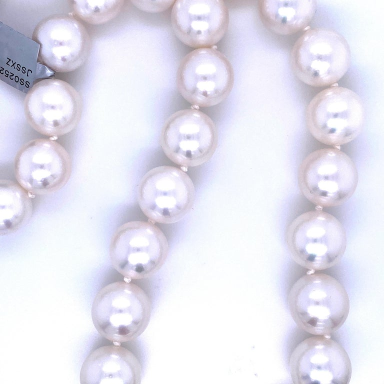 South Sea Pearl Stand Necklace 14 Karat White Gold For Sale 3