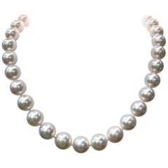 South Sea Pearl Stand Necklace 14 Karat White Gold