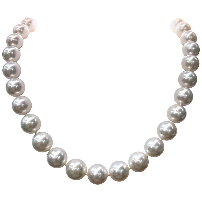 South Sea Pearl Stand Necklace 14 Karat White Gold For Sale