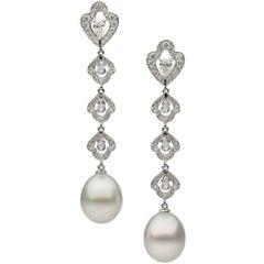 South Sea Pearl White Diamond Topaz Earrings
