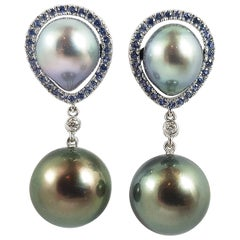South Sea Pearl with Blue Sapphire Earrings Set in 18 Karat White Gold Settings