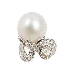 South Sea Pearl with Brown Diamond and Diamond Ring Set in 18 Karat White Gold