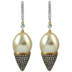 South Sea Pearl with Diamond 0.32 Carat Earrings Set in 18 Karat Gold Settings