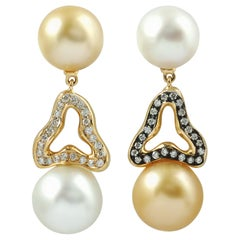 South Sea Pearl with Diamond 0.42 Carat Earrings Set in 18 Karat Gold Settings
