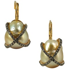 South Sea Pearl with Diamond 0.65 Carat Earrings Set in 18 Karat Gold Settings