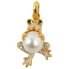 South Sea Pearl with Diamond and Tsavorite Pendant Set in 18 Karat Gold Settings