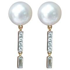 South Sea Pearl with Diamond Earrings Set in 18 Karat Gold Settings