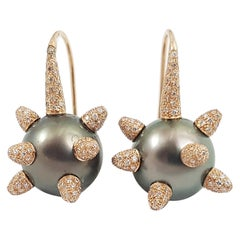 South Sea Pearl with Diamond Earrings Set in 18 Karat Rose Gold Settings