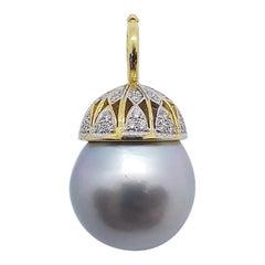 South Sea Pearl with Diamond Pendant Set in 18 Karat Gold Settings