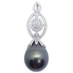 South Sea Pearl with Diamond Pendant set in 18 Karat White Gold Settings