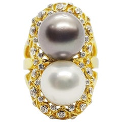 South Sea Pearl with Diamond Ring Set in 18 Karat Gold Settings