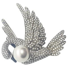 South Sea Pearl with Grey and Brown Diamond Swan Brooch 18 Karat White Gold