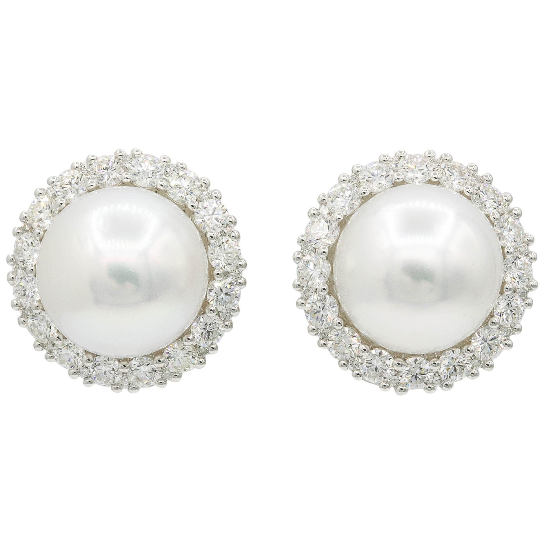 South Sea Pearl Diamond Halo Stud Earrings 2.75 Carats 18K