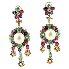South Sea Pearl,Diamonds,Emeralds,Rubies,Sapphires,14k White&Rose Gold Earrings