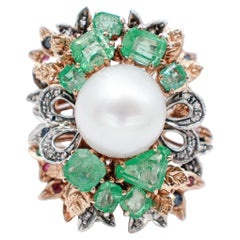 South-Sea Pearl Diamonds Emeralds Sapphires Rubies 9Kt Rose Gold and Silver Ring
