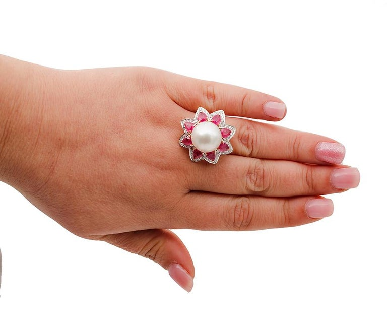 Mixed Cut South-Sea Pearl, Diamonds, Rubies, 14 Karat White and Yellow Gold Ring For Sale