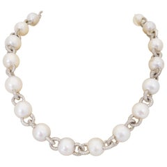 South Sea Pearls and 11.17 Carat Diamond Necklace