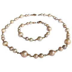 South Sea Pearls and 18 Karat Rose Gold Bracelet and Necklace
