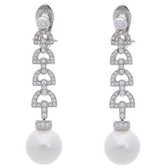 South Sea Pearls and White Diamonds 18 Karat White Gold Dangle Earrings