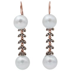 South-Sea Pearls, Diamonds, 9 Karat Rose Gold and Silver Dangle Earrings