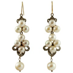 South Sea Pearls, Diamonds, 9 Karat Rose Gold and Silver Dangle Earrings