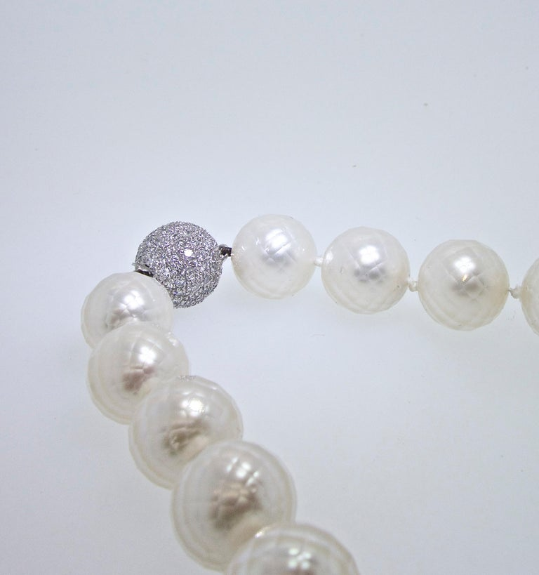 Modern South Sea Pearls facetted and Distinctive with a Diamond Clasp   For Sale
