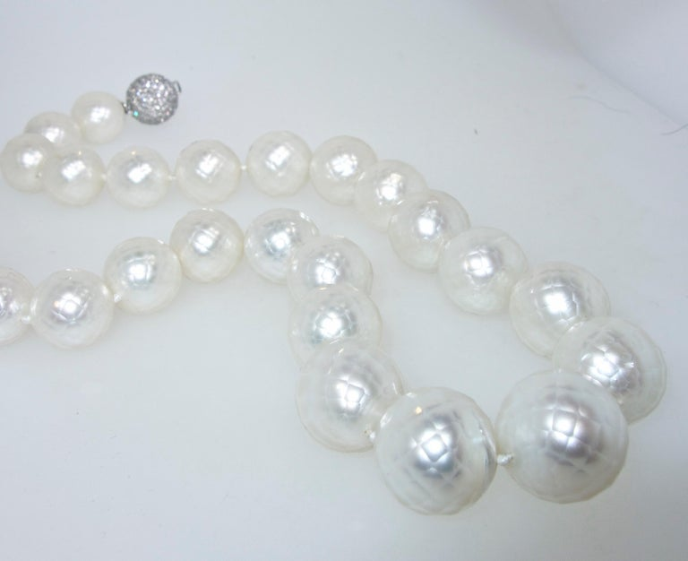 South Sea Pearls facetted and Distinctive with a Diamond Clasp   In New Condition For Sale In Aspen, CO