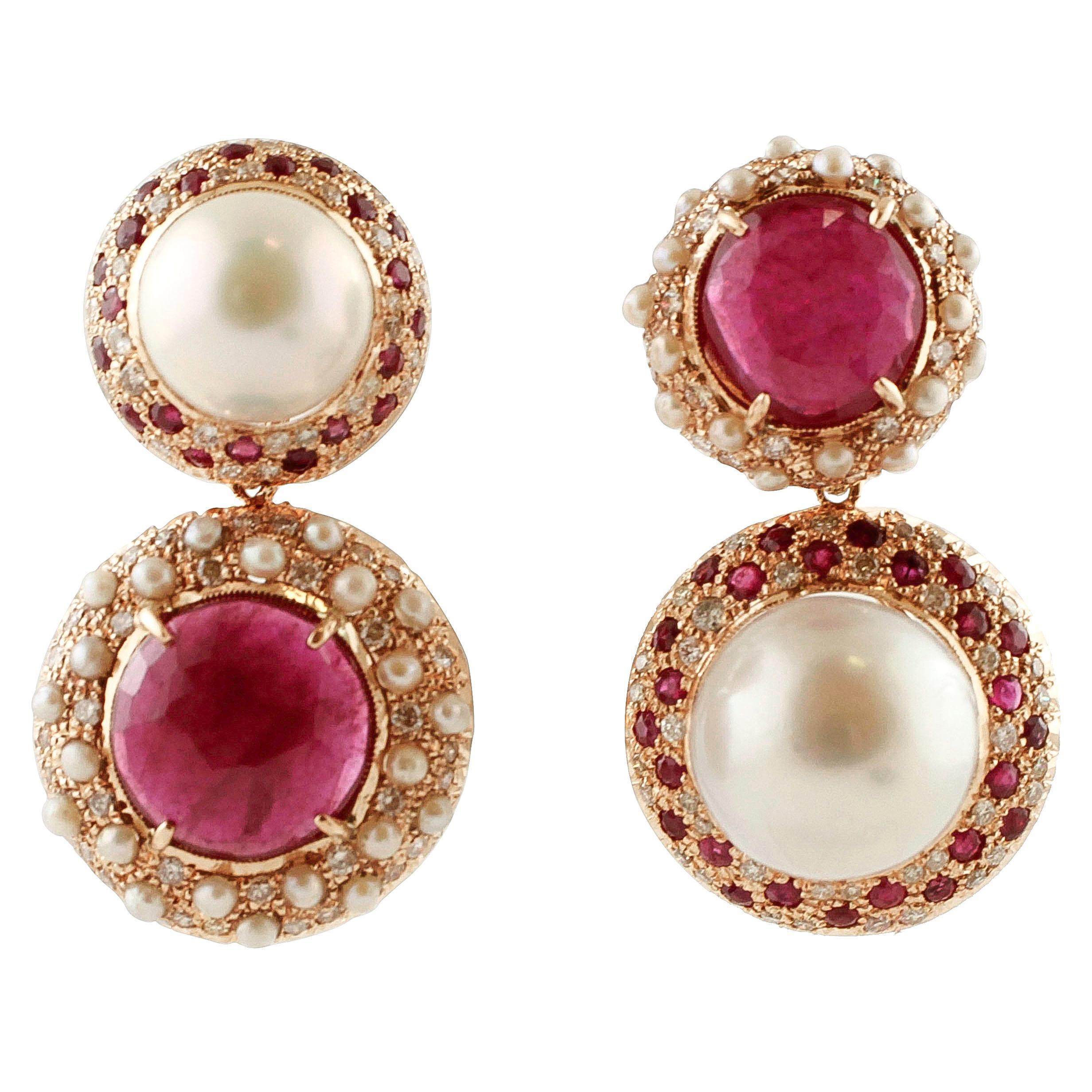 South Sea Pearls, Rubies, Diamonds, Rose Gold Retro Dangle Earrings