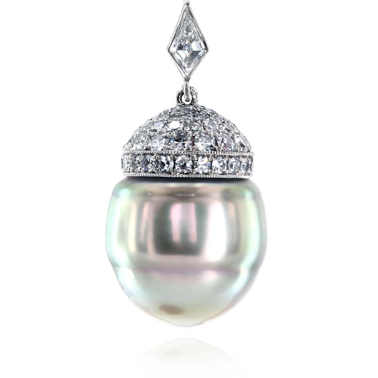 Contemporary South Sea Pearls, Tsavorites and Diamonds Platinum Drop Earrings by Leon Mege For Sale