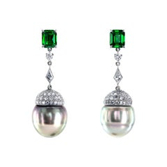 South Sea Pearls, Tsavorites and Diamonds Platinum Drop Earrings by Leon Mege