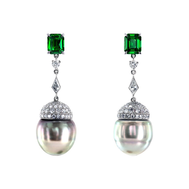 South Sea Pearls, Tsavorites and Diamonds Platinum Drop Earrings by Leon Mege For Sale