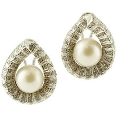 South-Sea Pearls, White Diamonds, 9 Karat White Gold Clip-On Earrings