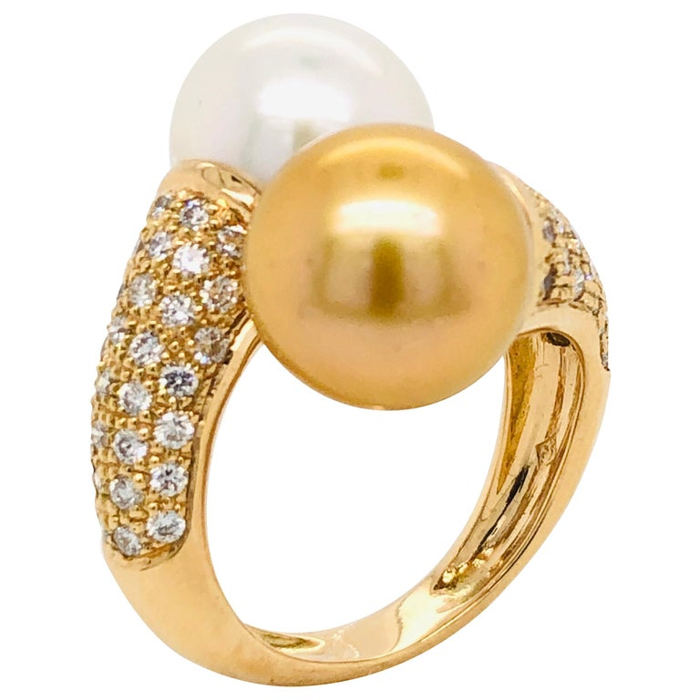 South Sea Pearls with White Diamonds on Gold 18 Carat Ring For Sale