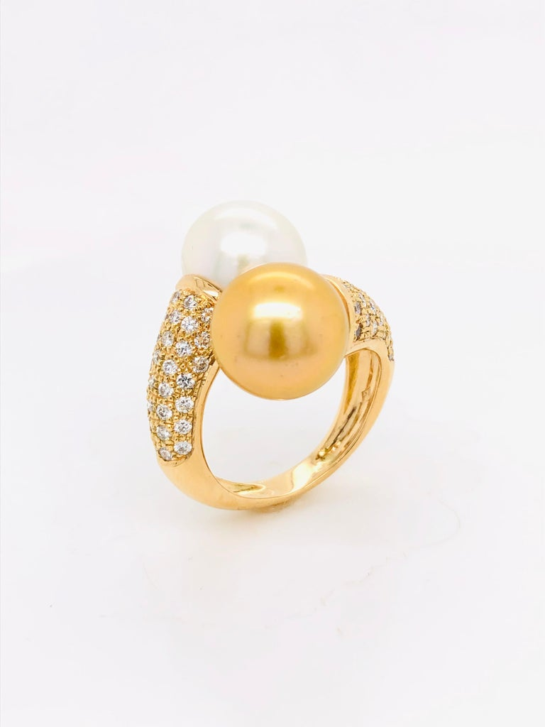 Contemporary South Sea Pearls with White Diamonds on Gold 18 Carat Ring For Sale