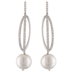 14K White Gold and Diamond Hoop Earrings with South Sea Round Cultured Pearl