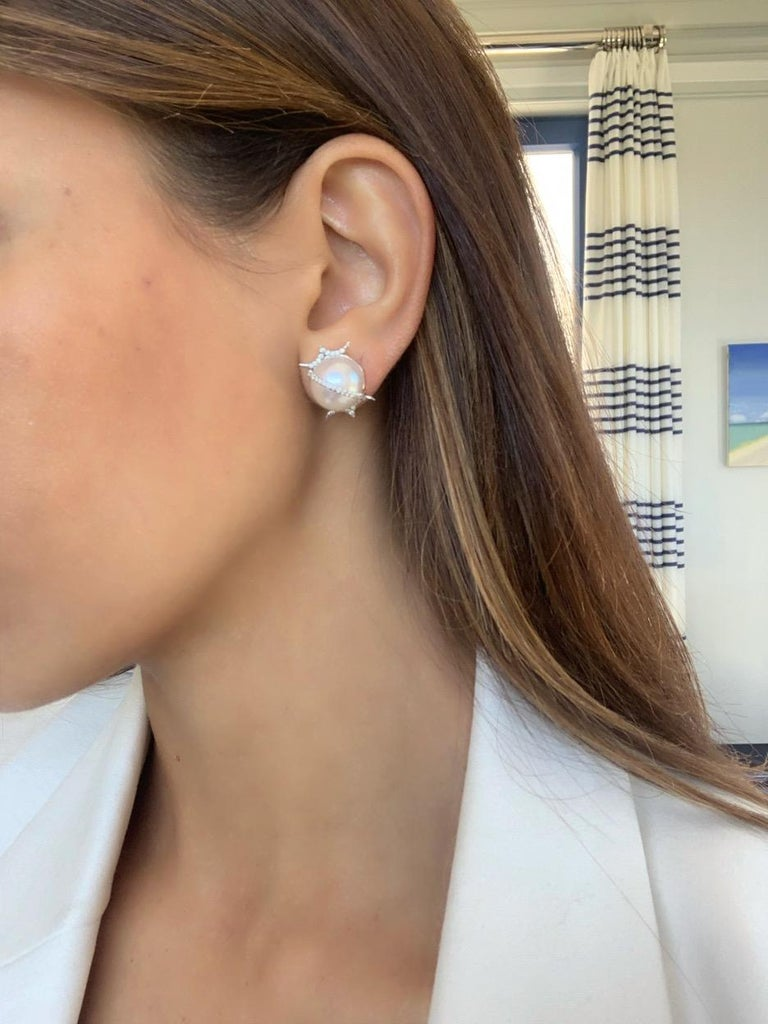 South Sea Round Pearl and Diamond Stud Earrings in 18 Karat White Gold In New Condition For Sale In New York, NY