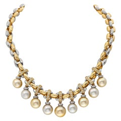 South Sea Silver and Golden Pearl Necklace with Diamond Accents